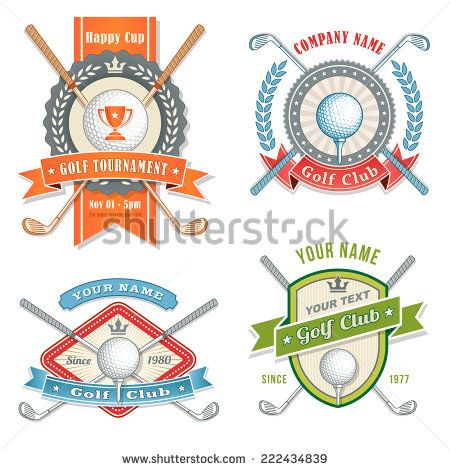 4 Colorful Logos and Placards for Golf Club Organizations or Tournament Events.  Vector file is organized with layers for ease of editing. - stock vector