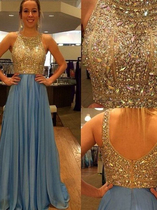 long prom dresses, blue prom dresses, beaded prom dresses, backless prom dresses, open back prom dresses, evening dresses#SIMIBridal #promdresses