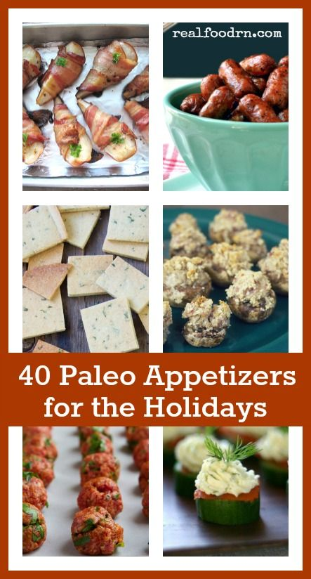 40 Paleo Appetizers for the Holidays. You can bring healthy appetizers to your holiday parties, that taste just as good as everyone else's party fare. With these recipes, you do not have to feel guilty for indulging. Enjoy the holidays and stay on track with healthy eating too! realfoodrn.com #paleoappetizers #healthyappetizers