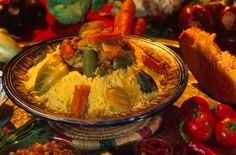 It is a tradition to eat this Couscous dish on a Friday after prayers in Morocco. The dish is typically made with seven different veggies and meat.