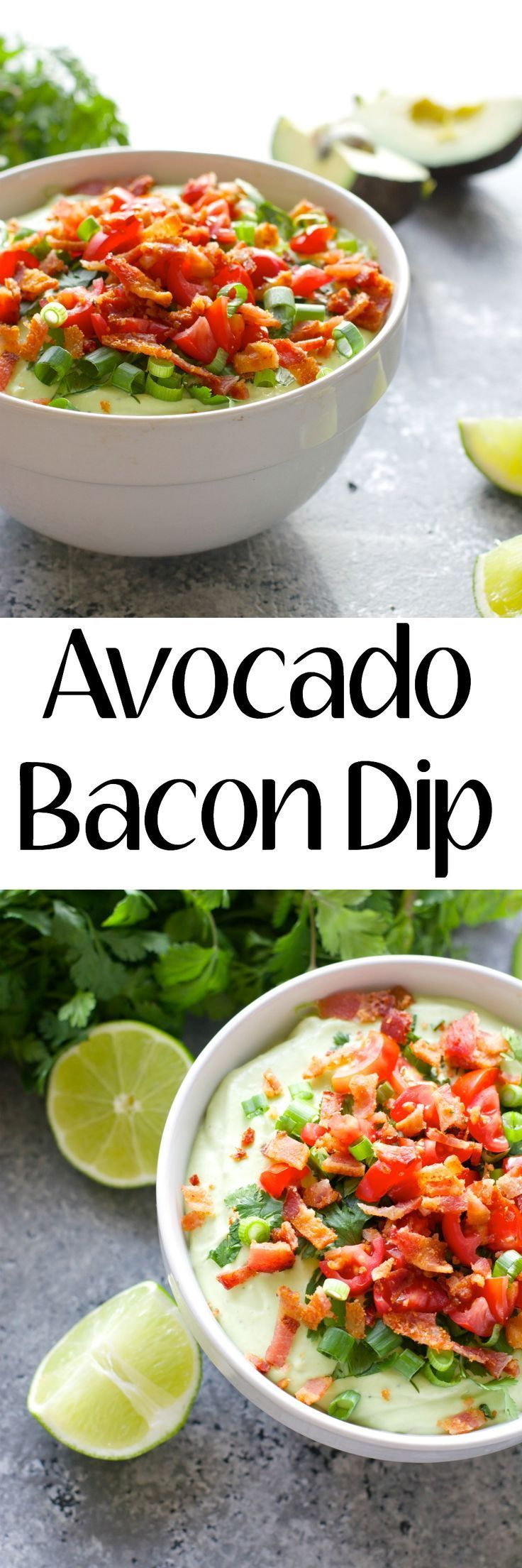 Creamy Avocado, light sour cream, spices and crisp bacon make for the perfect Summer appetizer!