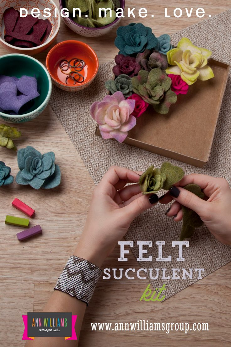 You don't have to be a master gardener to make these pretty succulents. You simply take each piece of felt, roll it, secure it with a rubber band, and then adhere it to the bottom of the frame. You th