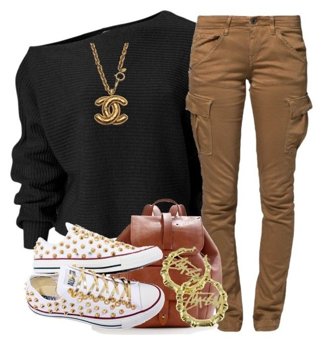 """""""hmm.."""" by livelifefreelyy ❤ liked on Polyvore featuring G-Star Raw, Madewell, Chanel, Converse and Stussy"""
