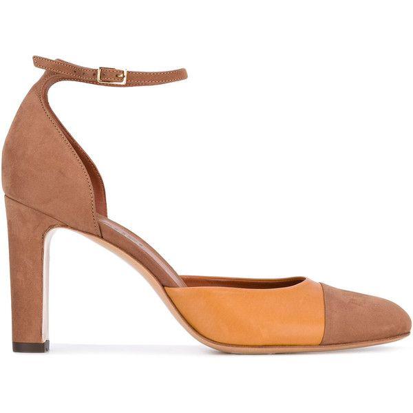 Michel Vivien ankle strap pumps ($383) via Polyvore featuring shoes, pumps, brown, michel vivien, ankle strap shoes, brown shoes, brown ankle strap shoes and ankle wrap pumps