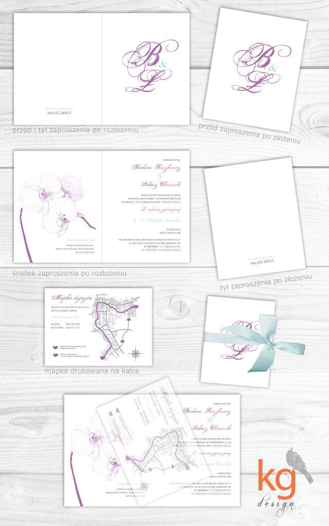 oryginalne nietypowe zaproszenia ślubne, motyw przewodni, storczyk, fioletowe, miętowe, RSVP, mapka dojazdu, eleganckie zaproszenie na ślub, kwiaty, orchidea, projekt indywidualny