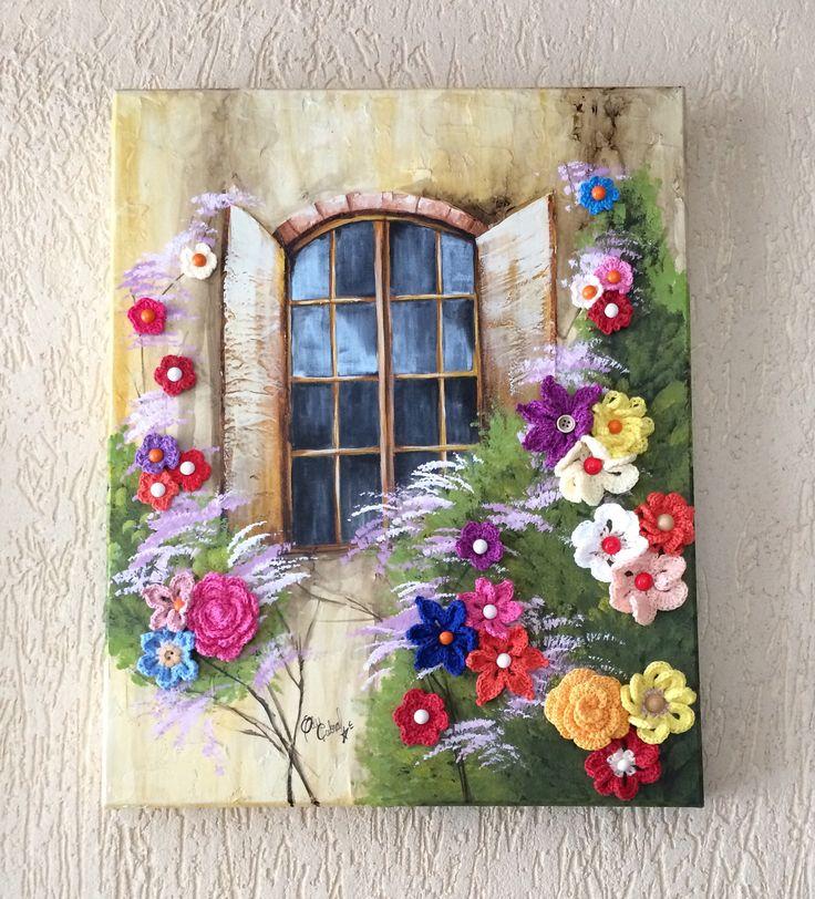 Janela florida tela 40x50cm pintura com tinta pva e acr lica textura com massa acr lica e - Flores de telas hechas a mano ...