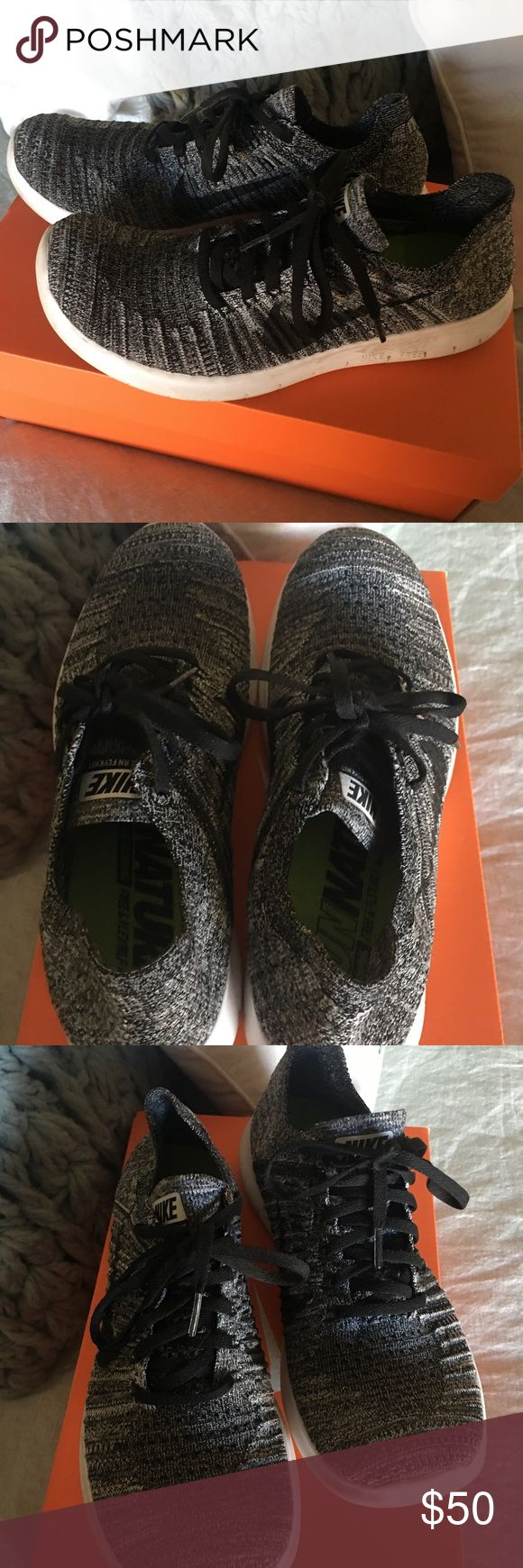 Nike Free Women's RN Flyknit sneakers Sz 9 These Nike sneakers are white/black in color and gently worn only a handful of times. They fit like a glove and have a suggested retail price of $130. They will ship in the original box. Size 9. Wmns Nike Free RN Flyknit. Nike Shoes Athletic Shoes