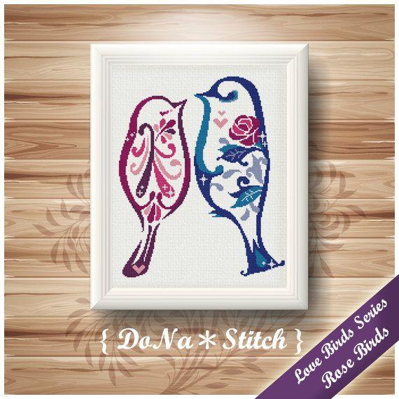 "Love Birds Series-Rose Birds-11""X14""-Cross Stitch Patterns"