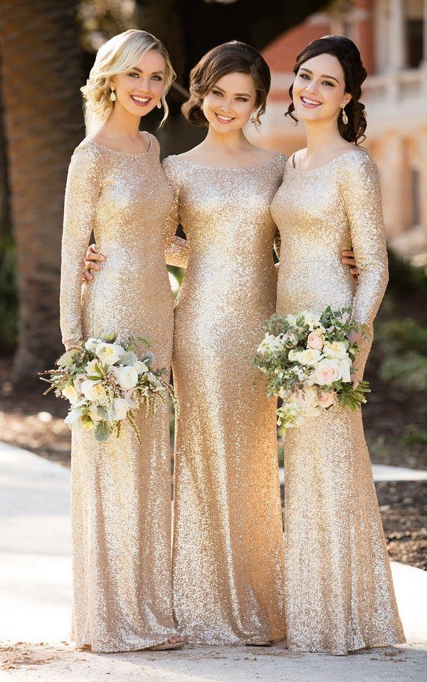 gold long sleeves sequined bridesmaid dresses / http://www.deerpearlflowers.com/sorella-vita-bridesmaid-dresses/4/