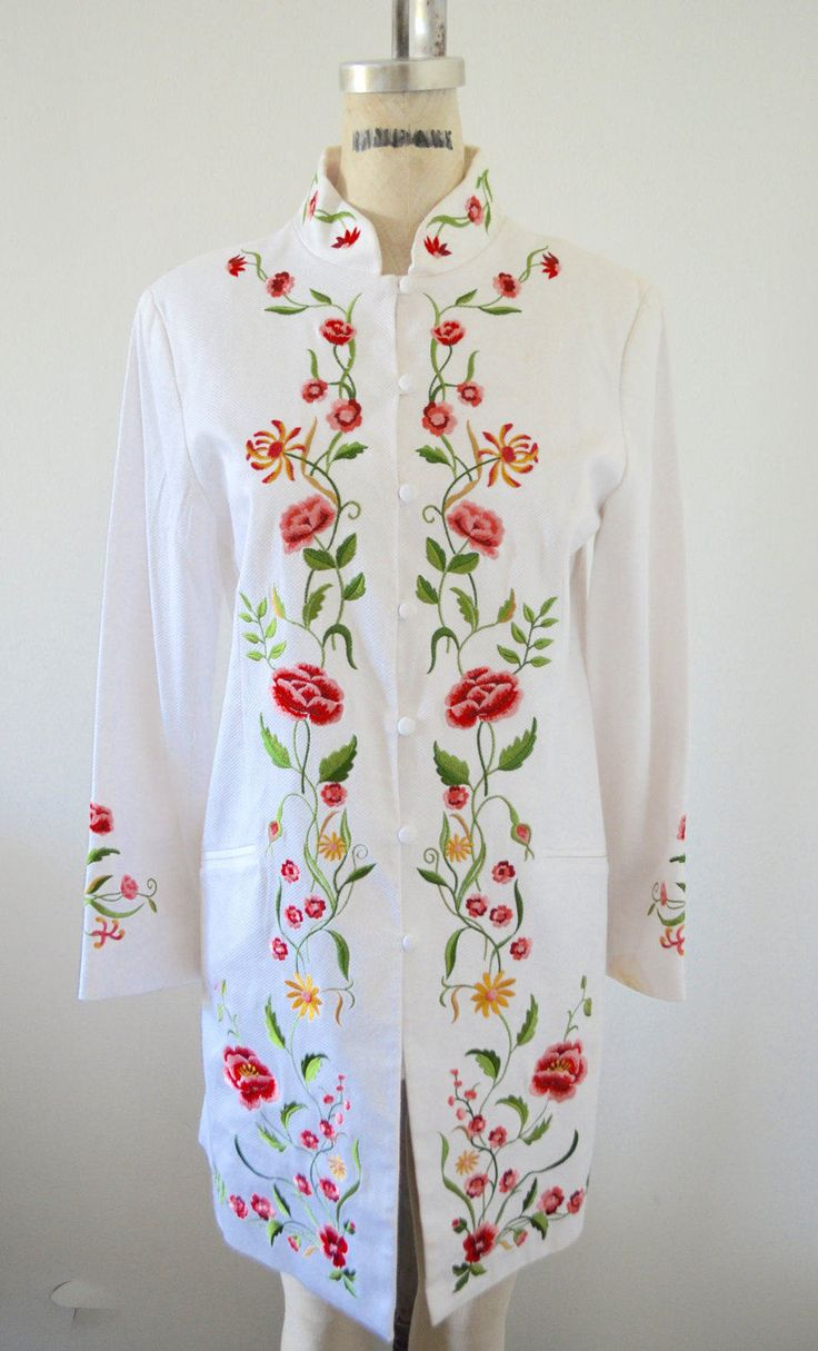 Victor Costa White Embroidered Duster Long Asian Floral Garden Printed Jacket Coat by cougarvintage on Etsy