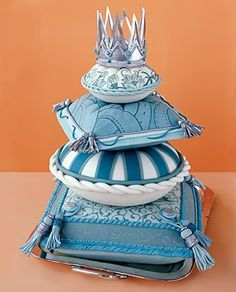 Pillow Wedding Cakes Pillow with Tassels, Crown   Wedding Cakes Blue white teal turquoise cream silver square round fondant pillow cushion