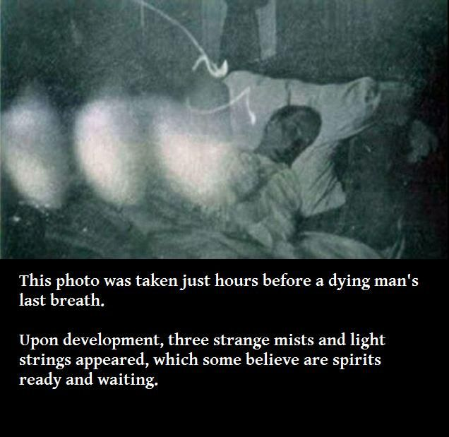 I often have felt spirits gathered at a dying patient's bedside and been honored to have seen them a couple times.  This photo I found on the Internet best illustrates what I have seen.