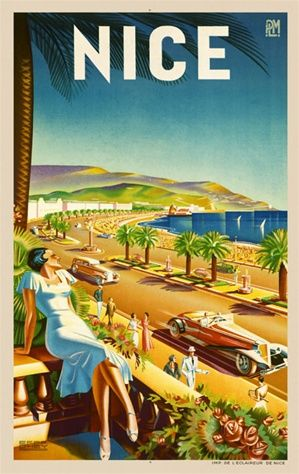 Nice by Dttey 1930 France - Beautiful Vintage Poster Reproduction. This vertical French travel poster features a woman leaning back on her b...