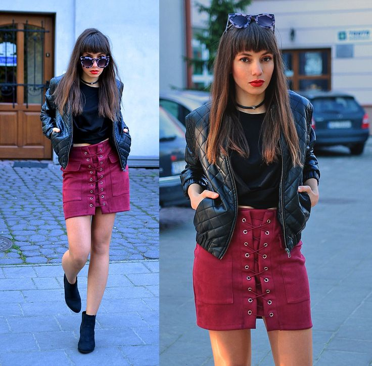 burgundy lace up skirt , leather choker and quilted bomber jacket: http://jointyicroissanty.blogspot.com/2017/05/burgundy-lace-up-skirt.html