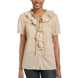 Jeanstar Women's Victoria Ruffle Woven Top, Putty, Medium (Apparel)By Jeanstar