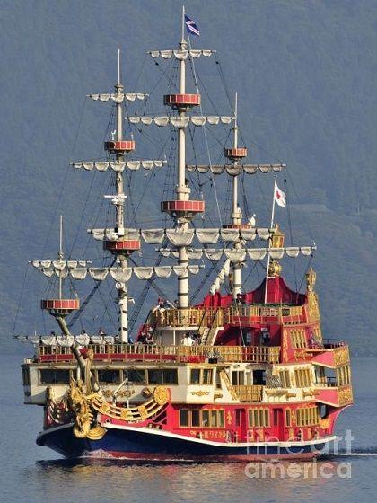 Hakone Sightseeing Cruise Ship Sailing on Lake Ashi , Hakone, Japan. Photo By Andy Smy.