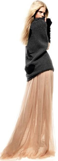 Street fashion for fall....Winter sexy cozy sweater grey top and peach pink maxi flowy skirt Twin-Set