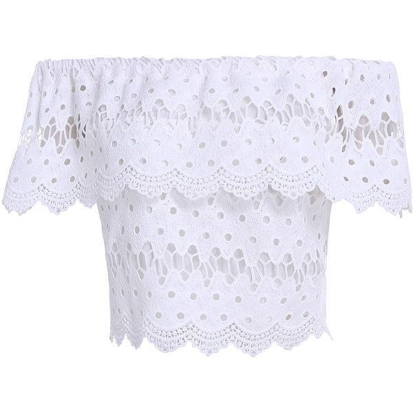 White Boat Neck Lace Crop Blouse (120 SEK) ❤ liked on Polyvore featuring tops, blouses, shirts, white, white lace shirt, white short sleeve blouse, white lace blouse, lace blouse and white shirt