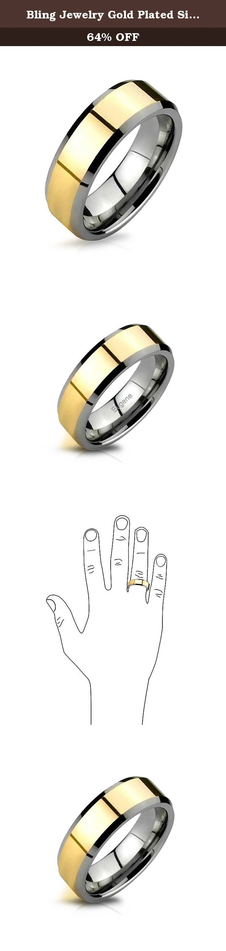 Bling Jewelry Gold Plated Silver Tungsten Beveled Ring 8mm. This mens wedding band is a picture of sophistication and class. You can take this striking two tone tungsten band and use it in whatever way you wish. These bold tungsten wedding bands for men can be worn casually, for special occasions or all the time, as a symbol of your devotion to your loved one. These tungsten rings for men boast an incredibly strong material which is excellent at resisting tarnishing of any kind, leaving…
