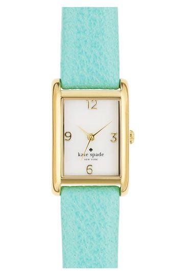 Joyful color!: Straps Watches, Style, Mint Gold, Leather Straps, Spade Watches, Gold Watches, New York, Kate Spade, Katespade