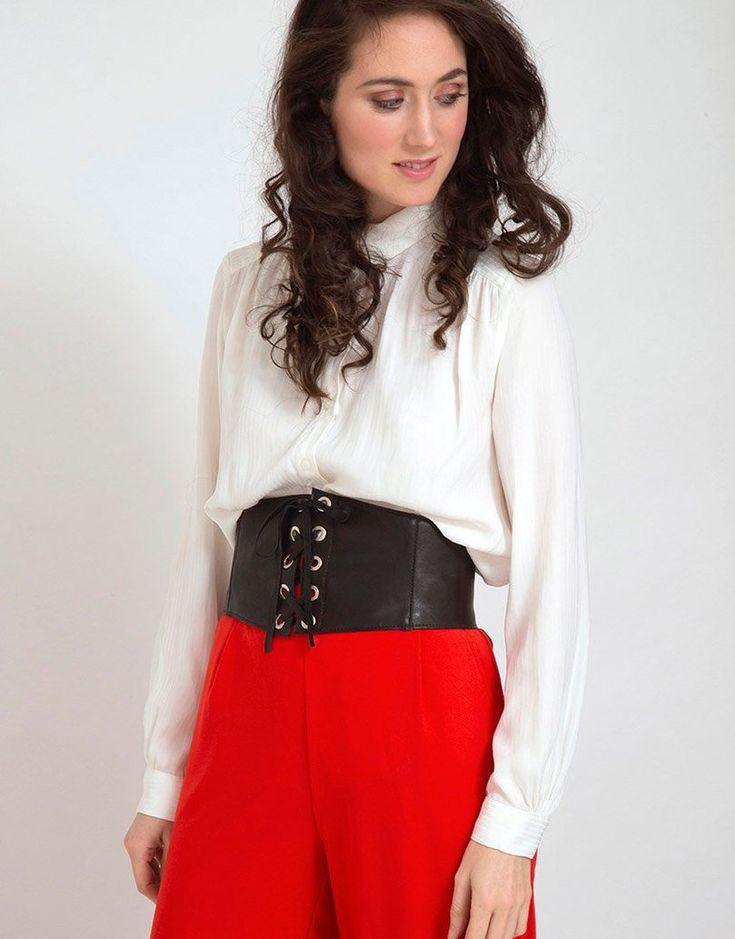 Black corset leather belt lace up leather belt elastic on
