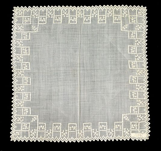 Handkerchief Date: 1840–60 Culture: French Medium: Cotton Credit Line: Brooklyn Museum Costume Collection at The Metropolitan Museum of Art, Gift of the Brooklyn Museum, 2009; Gift of Amy Reid Knox and Maria Knox, 1941