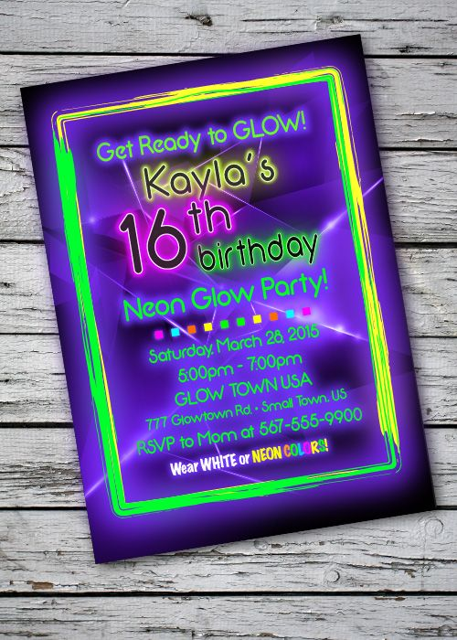 blacklight glow in the dark theme birthday party invitation digital file - Black Light Party Invitations