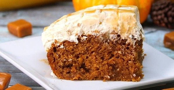 Pumpkin Caramel Cream Cheese Poke Cake Is The Perfect Dessert For Fall! - this will be my Thanksgiving desert!