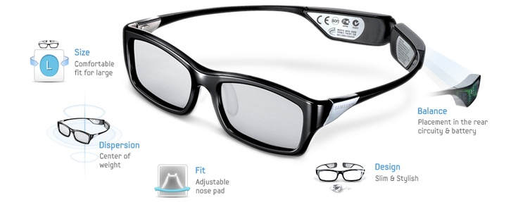 Experience amazing 3D visuals in total comfort wearing Samsung's SSG-3300GR 3D glasses. Designed with a flexible bridge, adjustable nose pad and perfect weight balance, these glasses provide the ultimate viewing experience. You'll notice the extra room afforded you, and will probably forget that you're wearing them…letting you enjoy the 3D experience in its fullest. And to complete the experience, Samsung have added a touch of style to the lenses, making them more like designer glasses.