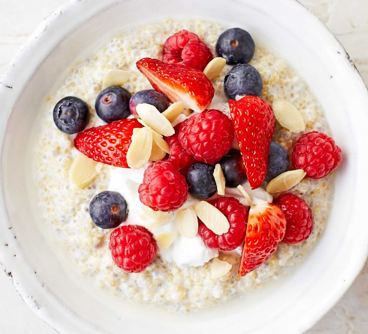 Supercharge your morning with high-protein quinoa and omega-3 rich chia seeds for a creamy breakfast bowl topped with seasonal fruit