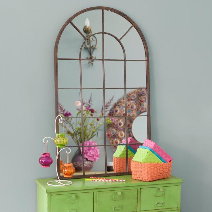 Miroir arcade en métal H 110 cm RUSTY