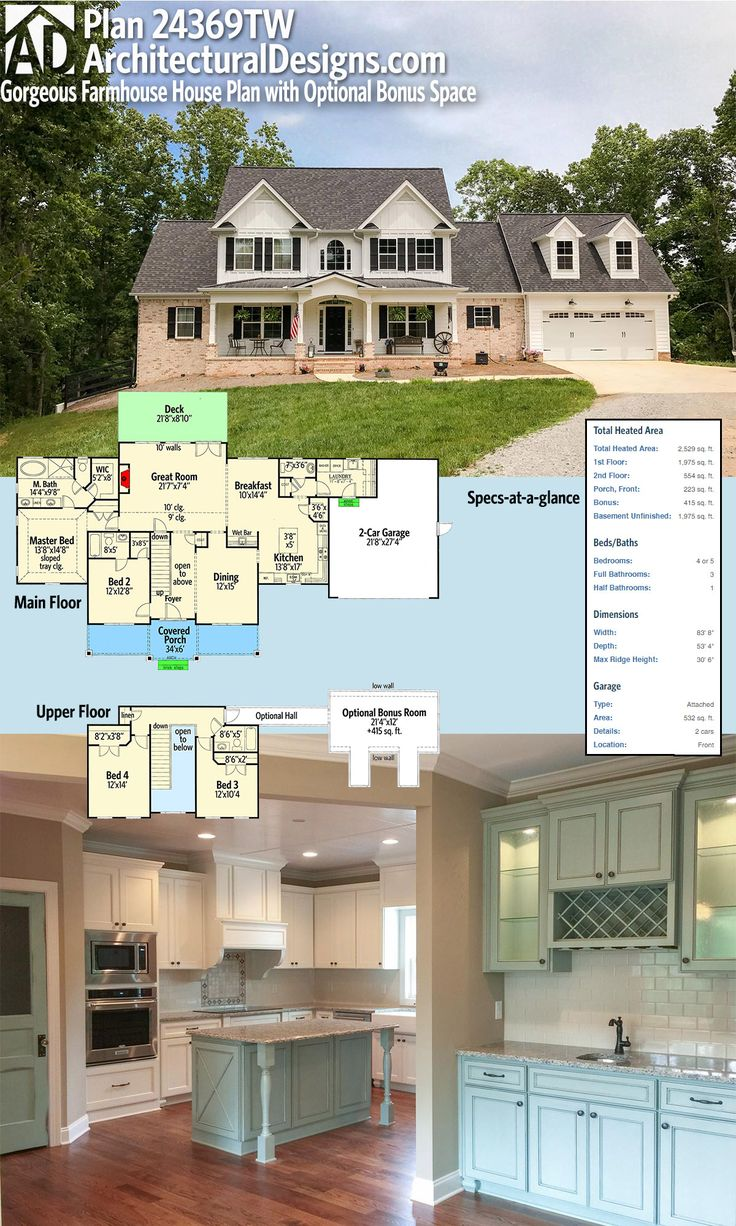 Architectural Designs House Plan 24369TW is a gorgeous Farmhouse with an optional bonus space over gargage. This plan gives you 4+ beds and over 2,500 square feet of heated living space. Ready when you are. Where do YOU want to build? Plans: https://www.architecturaldesigns.com/24369TW