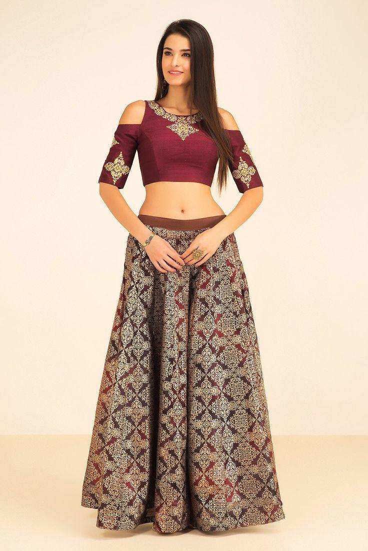 THE STYLE LOFT BY RITU DEORA maroon cold shoulder top and pleated skirt #flyrobe #wedding #weddingoutfit #designeroutfit #designerwear #bride #indianwedding #designerlehenga