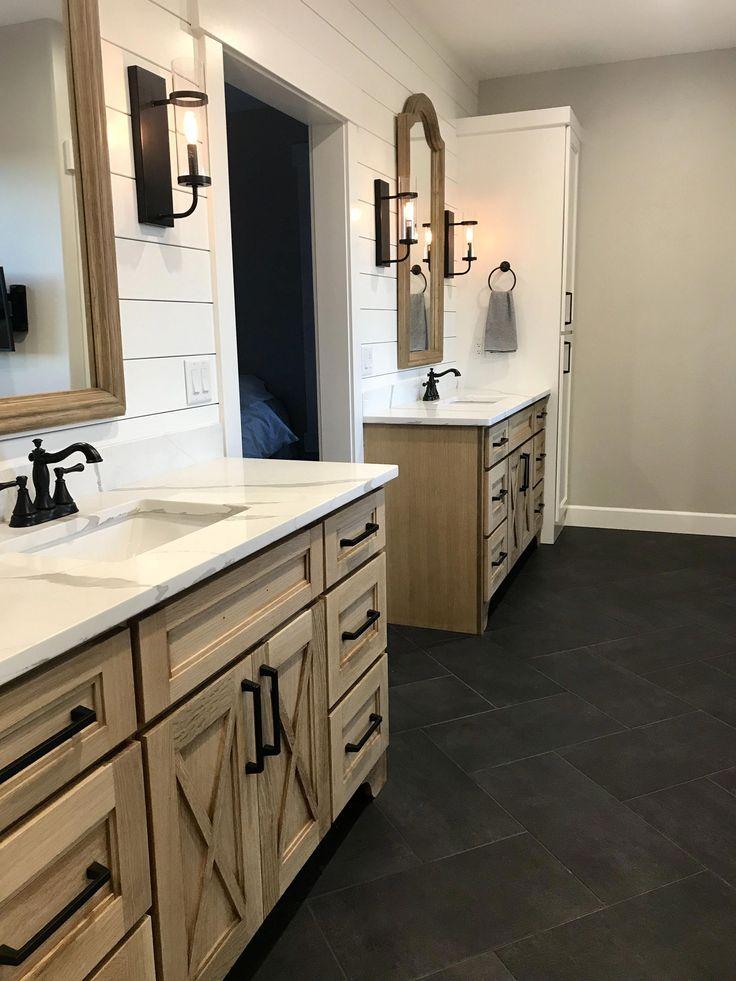 Master bathroom with restoration hardware mirrors …