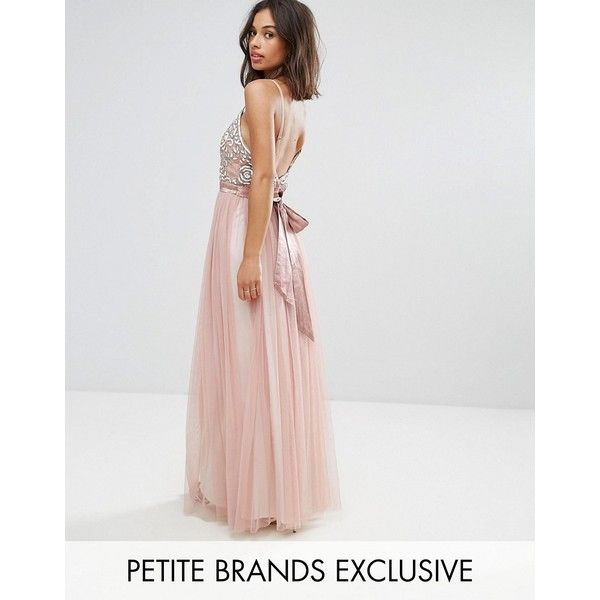 Maya Petite Cami Strap Bow Back Embellished Maxi Dress ($135) ❤ liked on Polyvore featuring dresses, petite, pink, sweetheart neckline prom dresses, pink cocktail dress, prom dresses, pink maxi dress and pink prom dresses