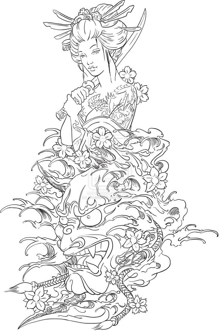 Geisha and Hannya Tattoo Design by phrance89