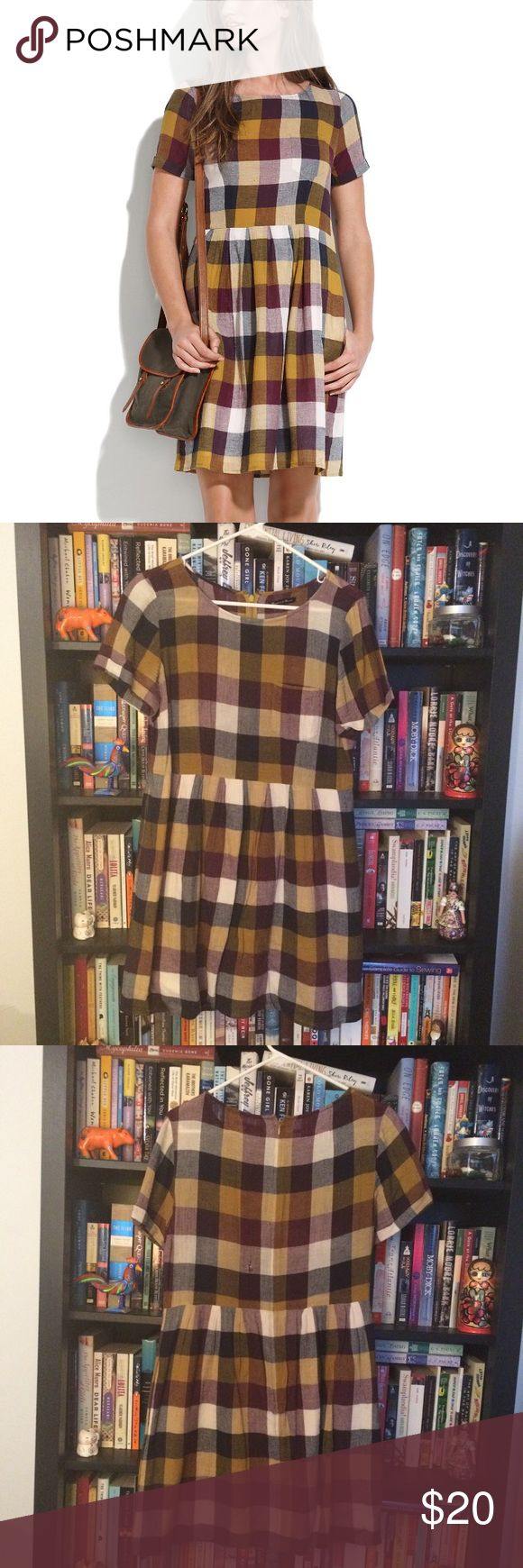 """Madewell Broadway & Broome Plaid Dress (US 10) This gauzy purple and mustard checked dress was a go-to for me for years, but sadly now it's just taking up space. It's well worn with a small tear in the back (pictured), but I know some smart styling could breathe new life into this well-loved piece. It was originally called the """"Plaid Songbird Dress."""" Madewell Dresses Mini"""