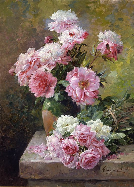 Albert Tibule Furcy de Lavault (1847 - 1915) - Roses and Peonies, Oil on canvas.  Things of beauty I like to see