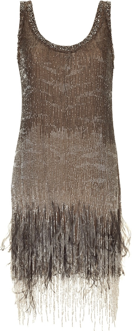 ROBERTO CAVALLI  Topaz Beaded Feather Fringe Dress >> ((for khaleesi / daenerys while she is with the dothraki)) (i already used this in a set for her)