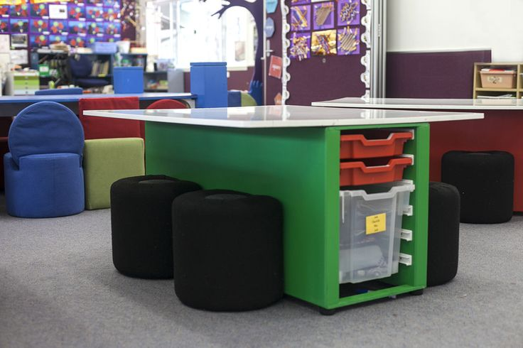 The NorvaNivel T-Table is the perfect solution for classrooms and STEAM spaces. With a writeable surface and storage. Available in 4 or 6 seat size.