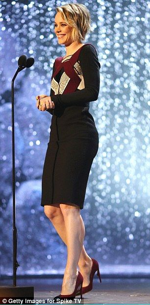 She's gorgeous: Rachel showcased her slender form in the frock, which she paired with high heels