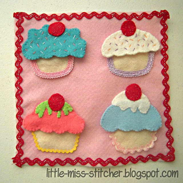 Little Sister Quiet Book: Cupcake Page! So cute. Free Pattern Included!