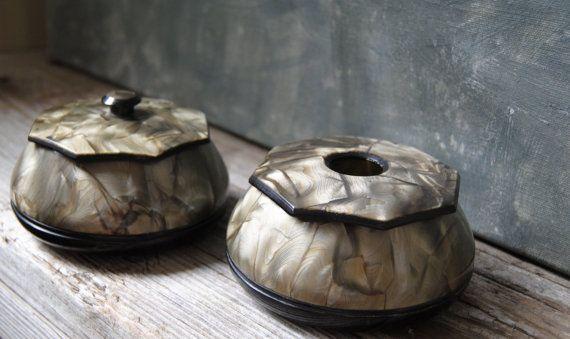 Shades of Grey Vanity Jars Vintage Hair Receiver and Powder Jar Set Made by Tusculor