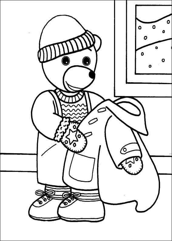 coloriage petit ours brun retire son manteau