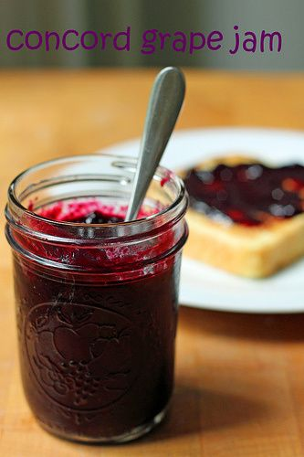 Concord Grape Jam. This is divine. I strained out the peel at the end and cooked it a bit longer but it is perfection!