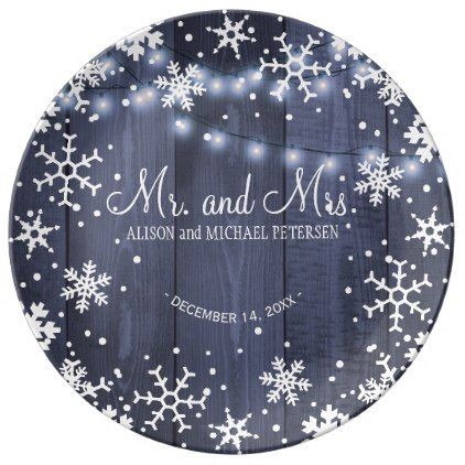 String lights snowflakes mr and mrs wedding dinner plate - decor gifts diy home & living cyo giftidea