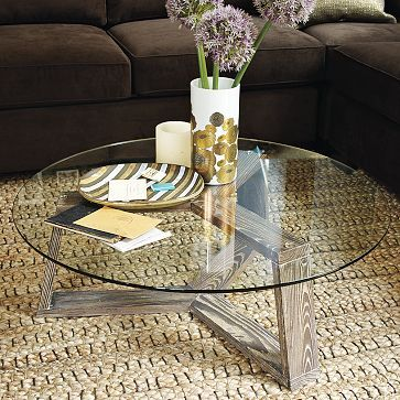 ion glass round coffee table - west elm > Canadians, the Osaka coffee table at Urban Barn is very similar in design to this.