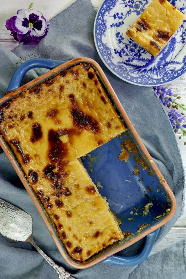 Try this easy Cassava cake recipe with creamy custard topping . A Filipino sweet delicacy from cassava/manioc. | www,foxyfolksy.com