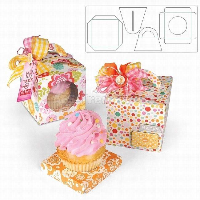 Sizzix Bigz XL Die - Box Cupcake - Stanzschablone Kuchenschachtel, AF