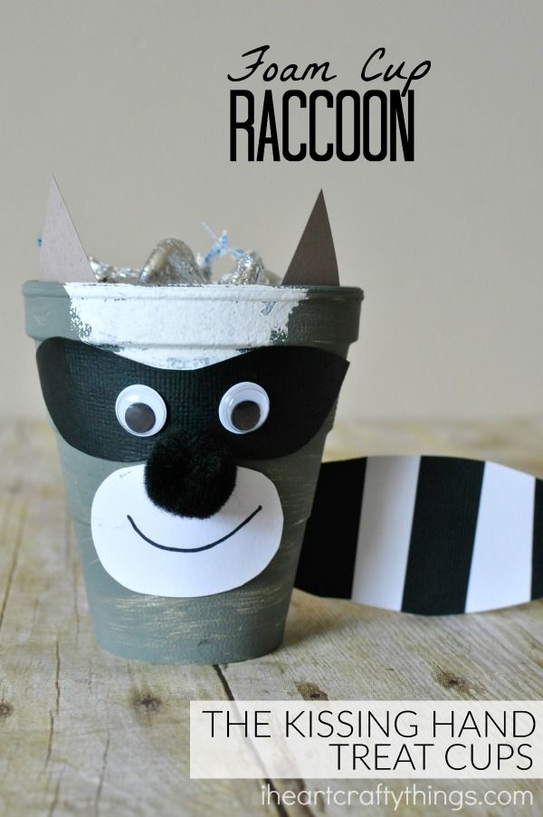 The Kissing Hand Raccoon Craft that is perfect as a back to school craft and can be used as a treat container to take to school to hand out kisses to classmates. Fun book inspired craft, preschool craft and animal craft.